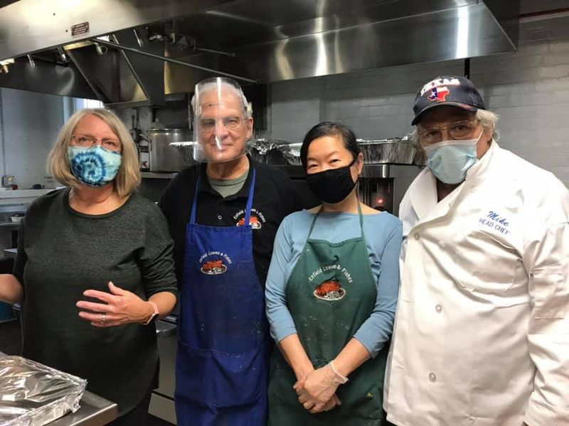 Volunteer chefs at Enfield Loaves and Fishes on Thanksgiving included (l-r) Sandy Govoni, Aldo Della Giustina, Mary Lee Brody, and Mike Leborius. (Courtesy photo / Courant Community)